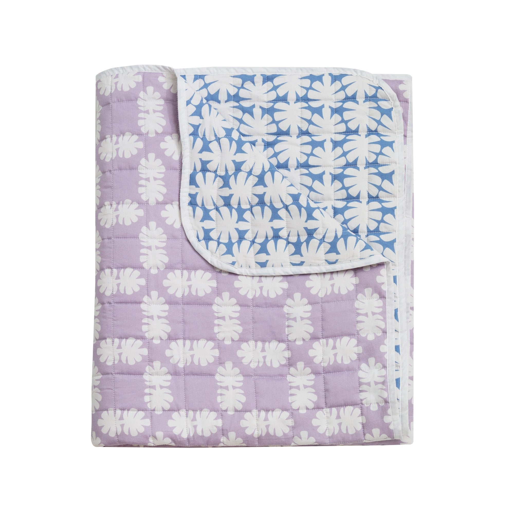 Kikau's Lilac and Blue Coconut Palm Quilted Bedspread on white background