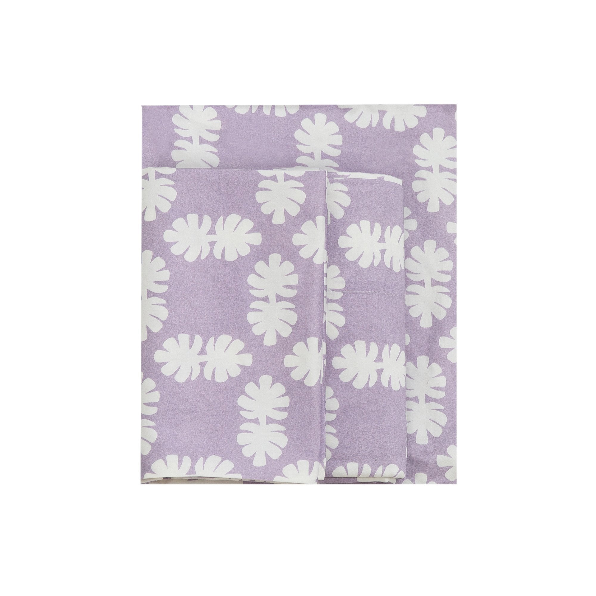 Kikau's Lots of Lilac Coconut Palm kids sheet set on white background