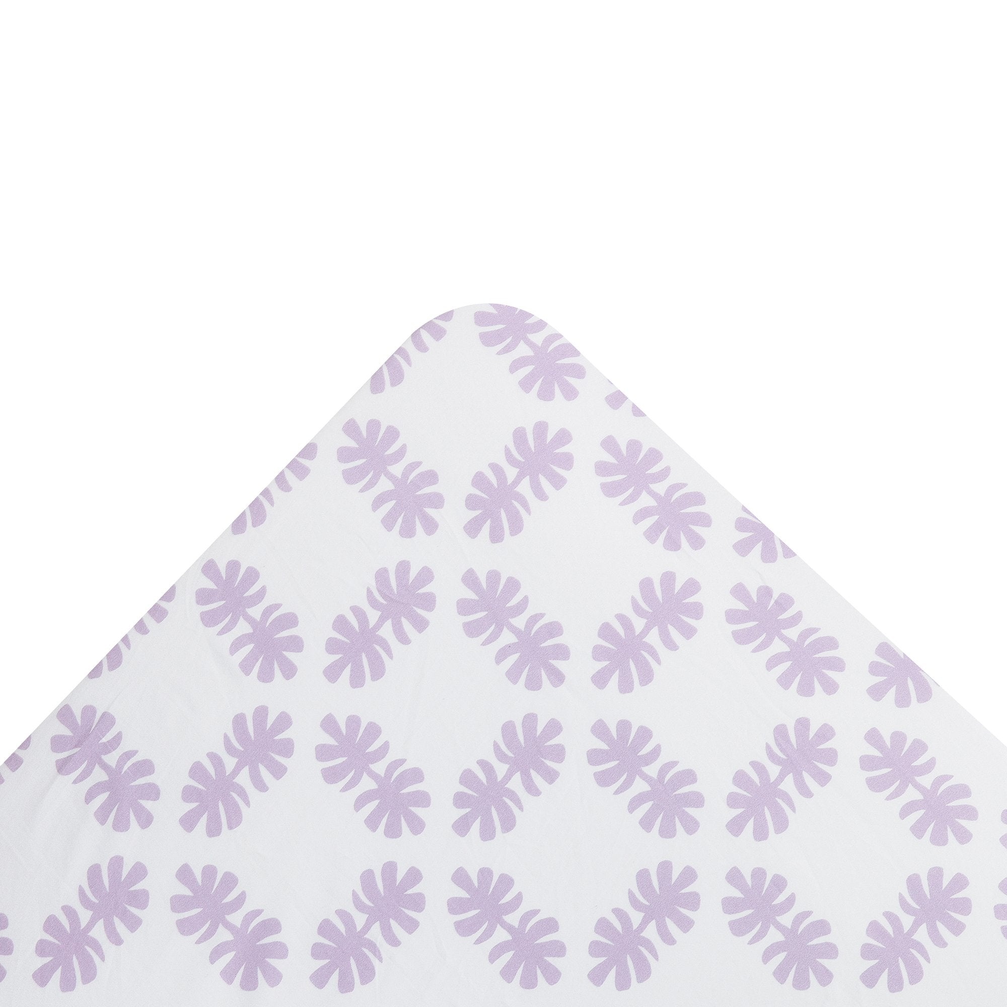 Kikau's Lovely Lilac Coconut Palm kids fitted sheet on white background