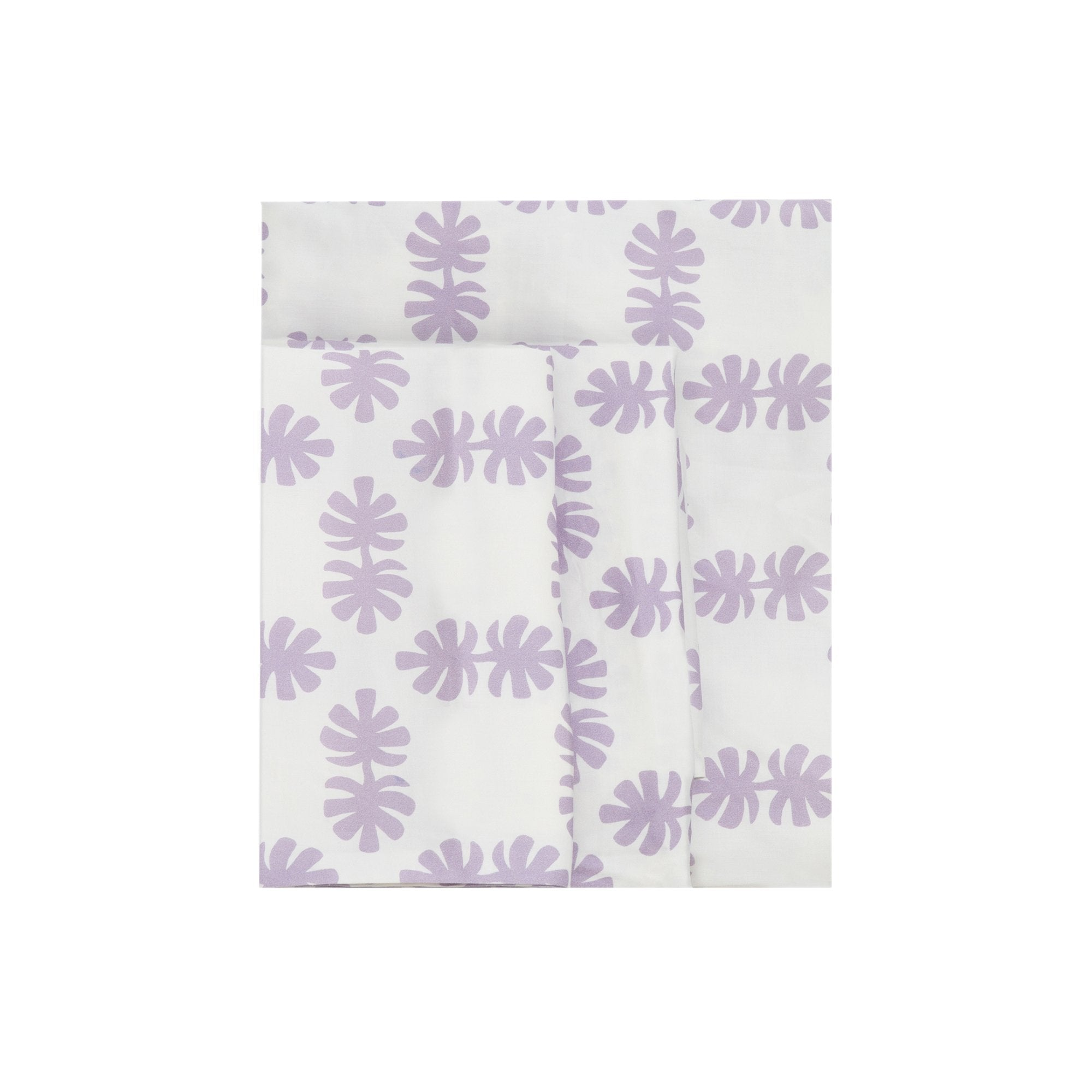 Kikau's Lovely Lilac Coco Palm kids sheet set on white background