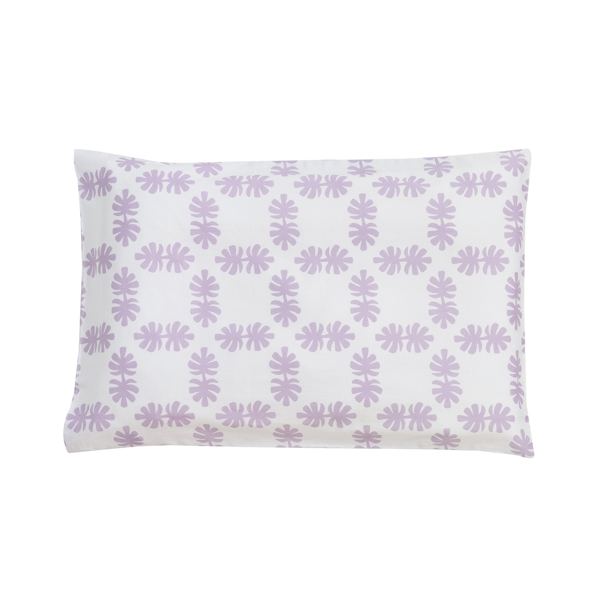 Kikau's Lovely Lilac Coconut Palm kids pillowcase on white background