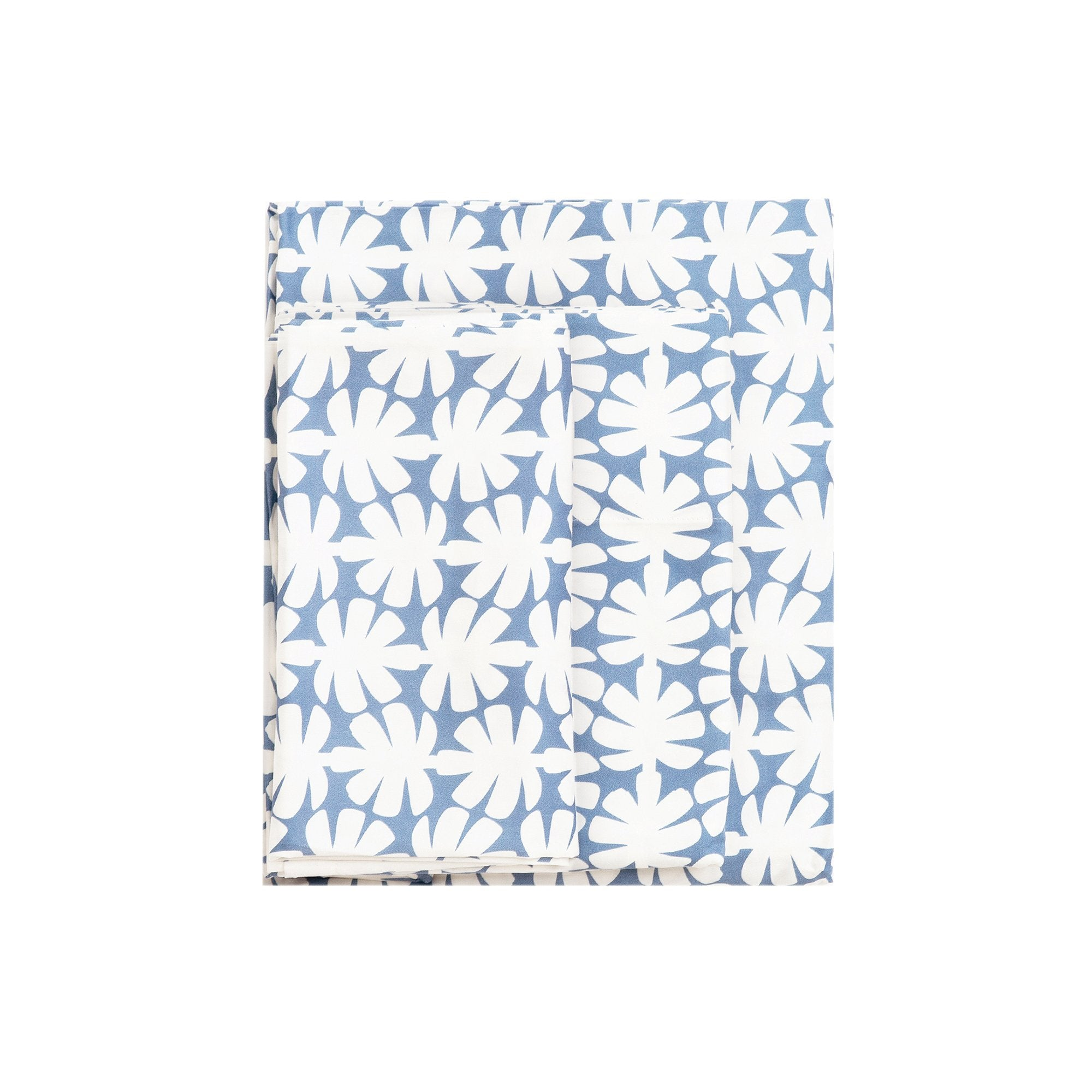Kikau's Ocean Blue Coconut Palm kids sheet set on white background