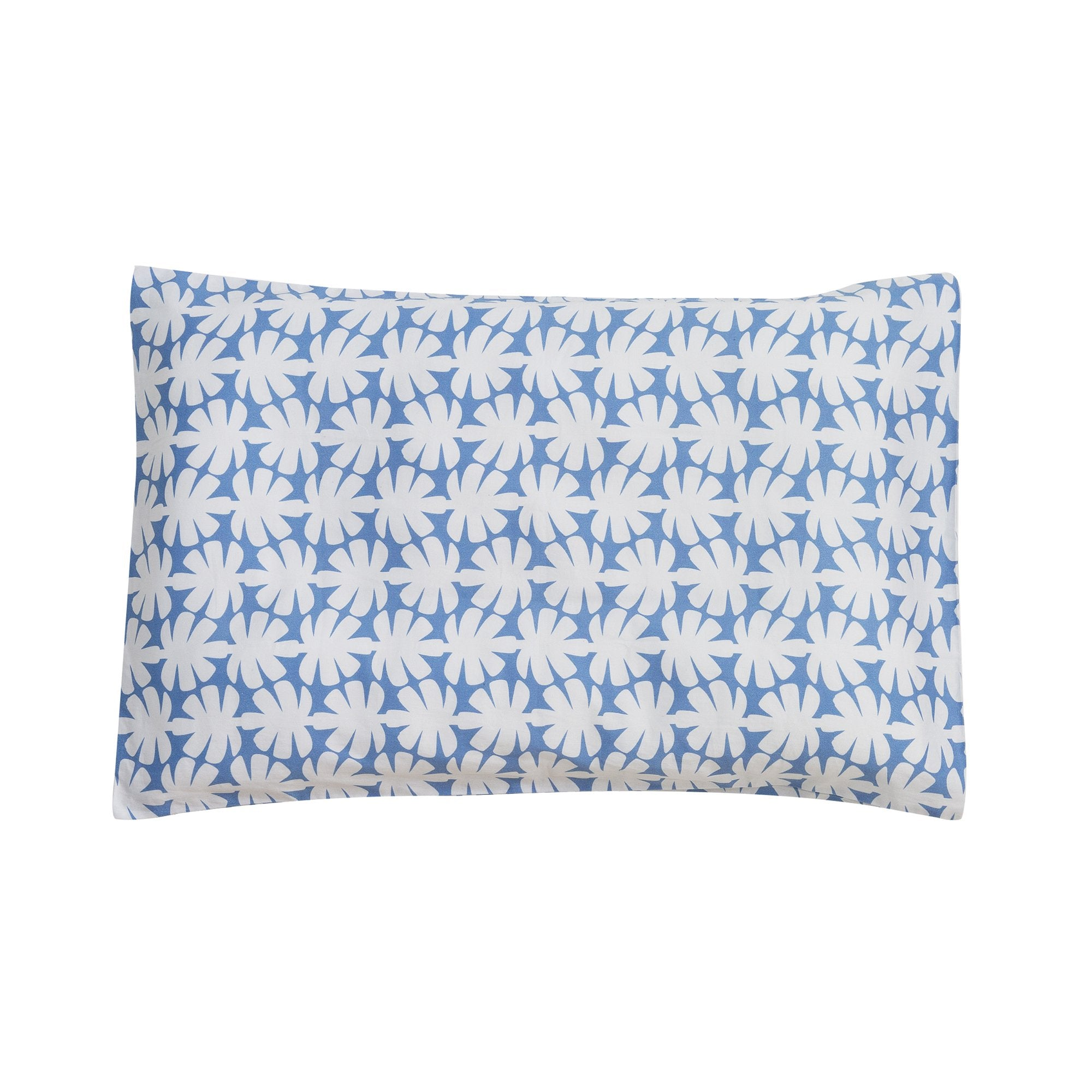 Kikau's Ocean Blue Coconut Palm kids pillowcase on white background