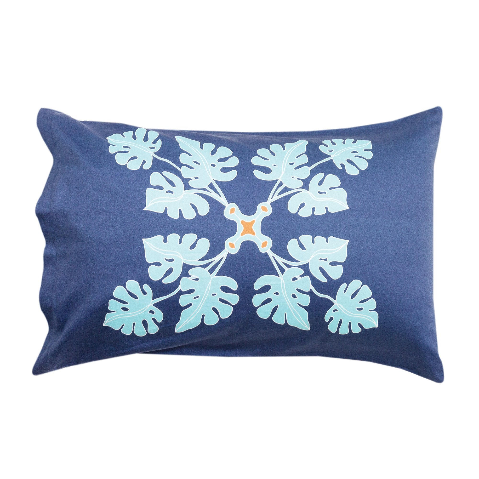 Kikau's Pacific Ocean Blue kids pillowcase on white background