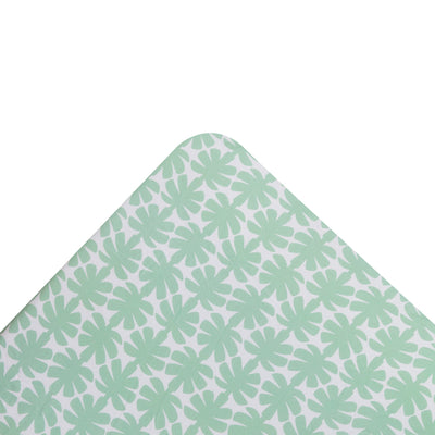 Kikau's Palm Green Coconut Palm kids fitted sheet on white background