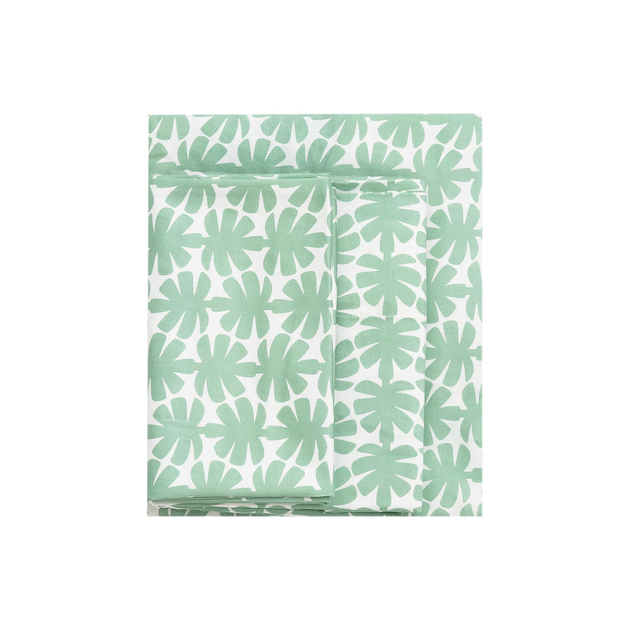 Kikau's Palm Green Coconut Palm kids sheet set on white background