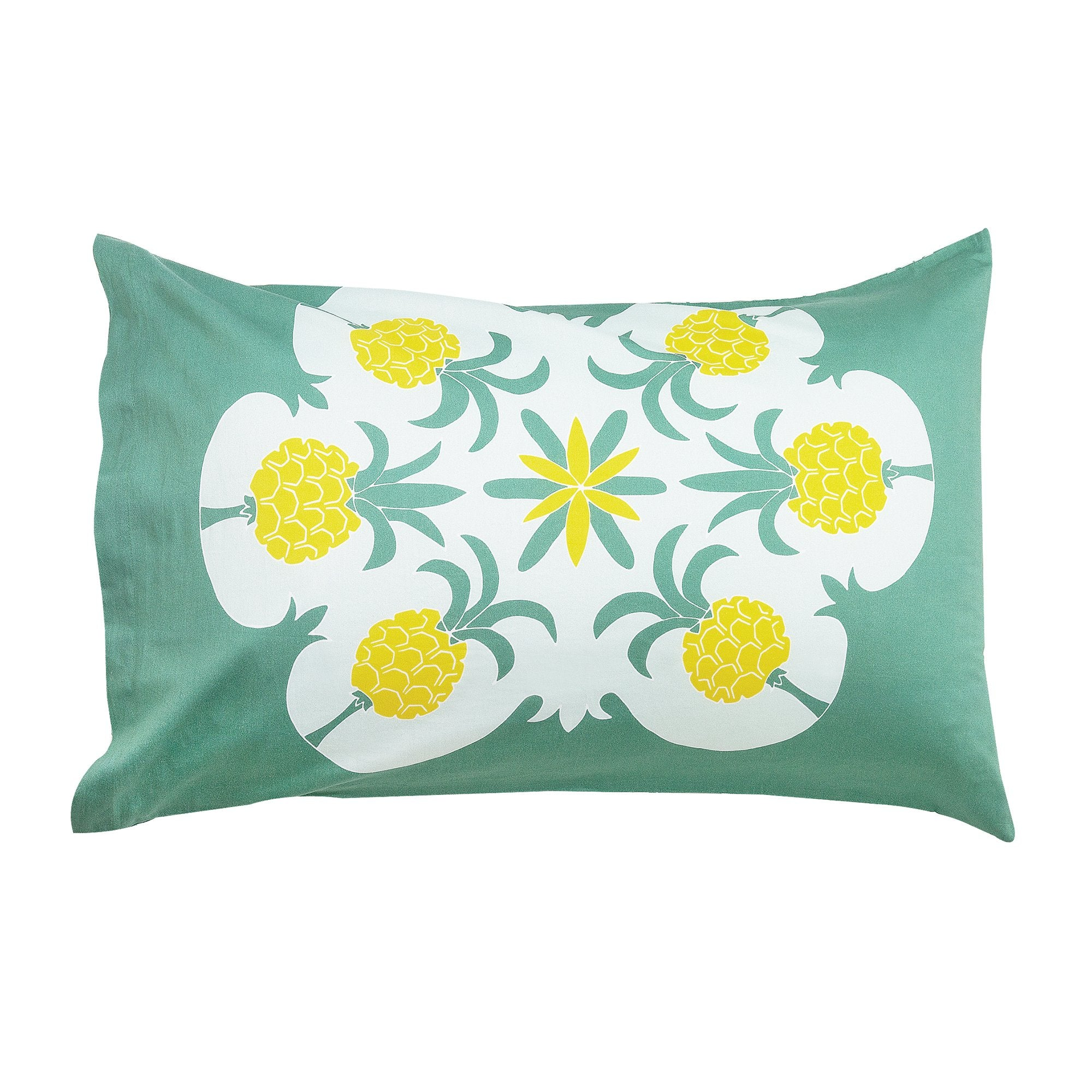 Kikau's Pineapple Paradise Green kids pillowcase on white background