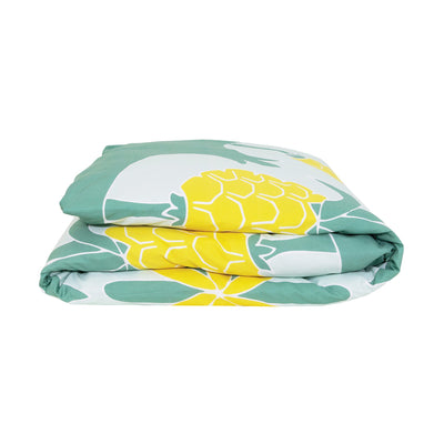 Kikau's Pineapple Paradise Green kids quilt cover set on white background