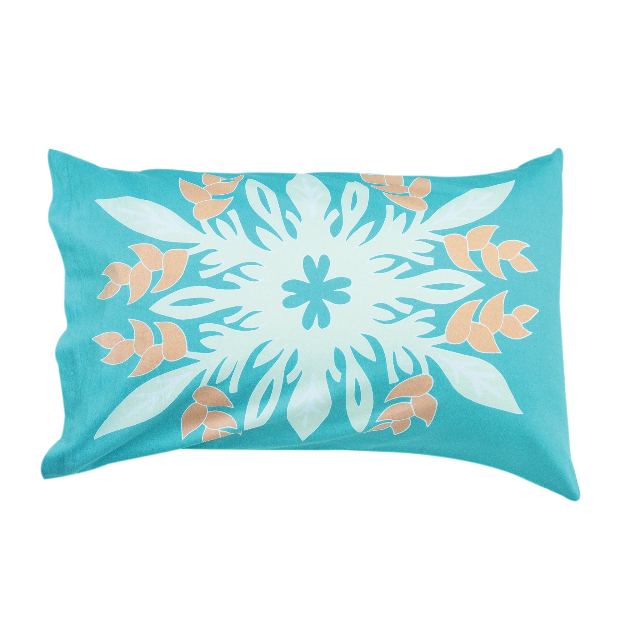 Kikau's Sea Foam Green kids pillowcase on white background