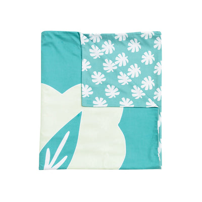 Kikau's Sea Foam Green kids quilt cover set on white background