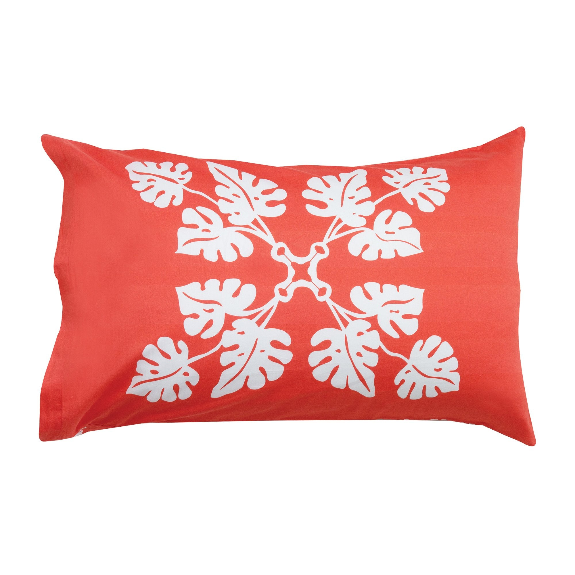 Kikau's Tropical Raro Red kids pillowcase on white background