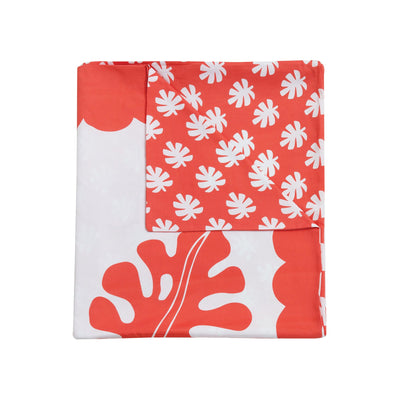 Kikau's Tropical Raro Red kids quilt cover on white background