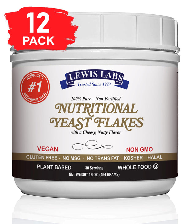 Special! VEGAN Nutritional Yeast mini FLAKES 1 Lb. Pack of 12