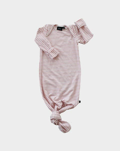 Knotted Sleeper Gown in Blush Stripe