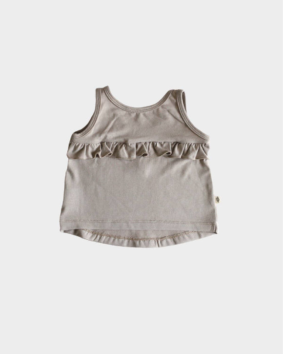 S21 Girl's Ruffle Tank in Fawn