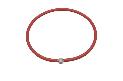 Vegan Red Silicone Bracelet - Silver with Diamond CZ