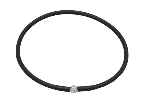 Vegan Black Silicone Bracelet - Silver with Diamond CZ