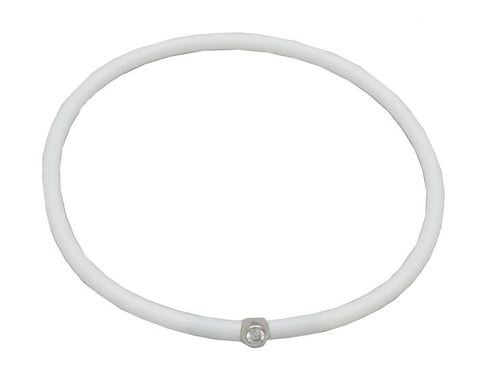 Vegan White Silicone Bracelet - Silver with Diamond CZ