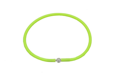 Vegan Lime Green Silicone Bracelet - Silver with Diamond CZ