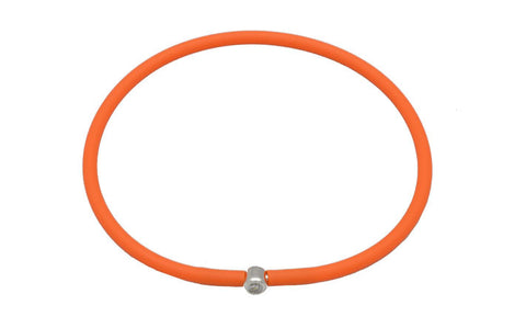 Vegan Orange Silicone Bracelet - Silver with Diamond CZ