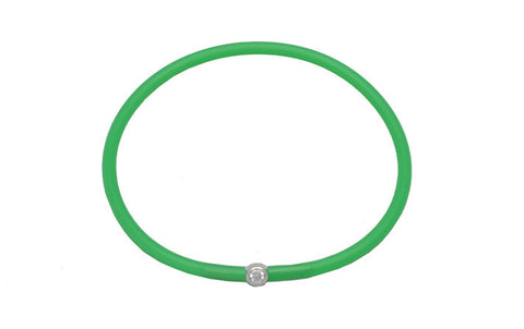 Vegan Emerald Green Silicone Bracelet - Silver with Diamond CZ
