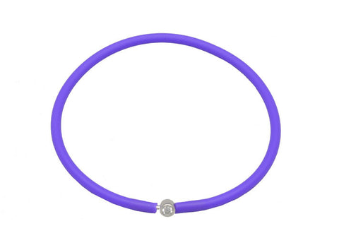 Vegan Purple Silicone Bracelet - Silver with Diamond CZ