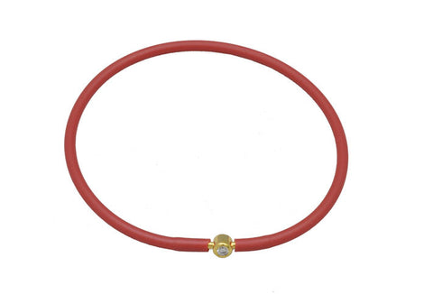 Vegan Red Silicone Bracelet - Gold with Diamond CZ