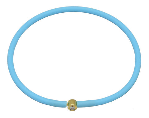 Vegan Baby Blue Silicone Bracelet - Gold with Diamond CZ