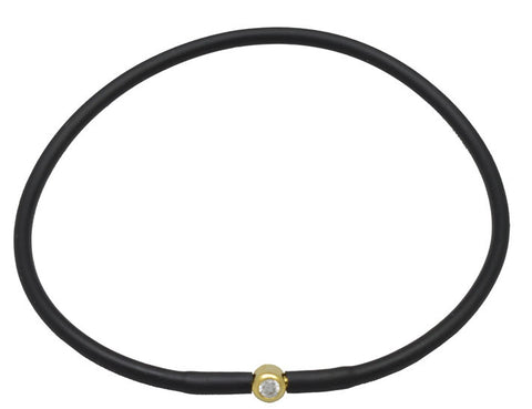 Debra Shepard Vegan Black Silicone Bracelet - Gold with Diamond CZ