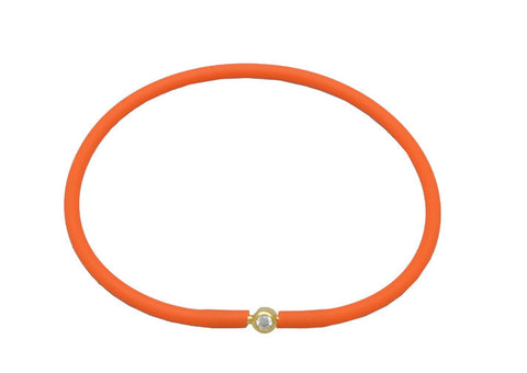 Vegan Orange Silicone Bracelet - Gold with Diamond CZ