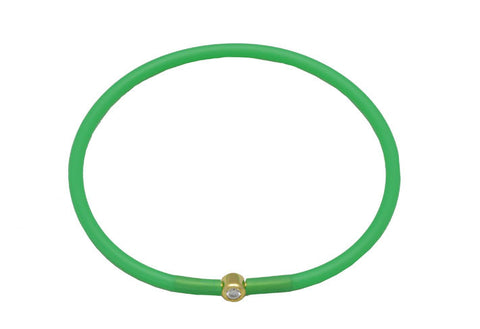 Vegan Emerald Green Silicone Bracelet - Gold with Diamond CZ
