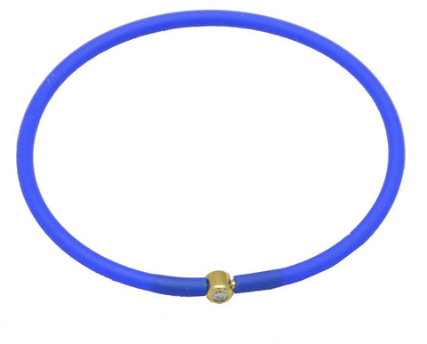 Vegan Cobalt Blue Silicone Bracelet - Gold with Diamond CZ