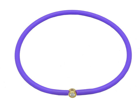 Vegan Purple Silicone Bracelet - Gold with Diamond CZ
