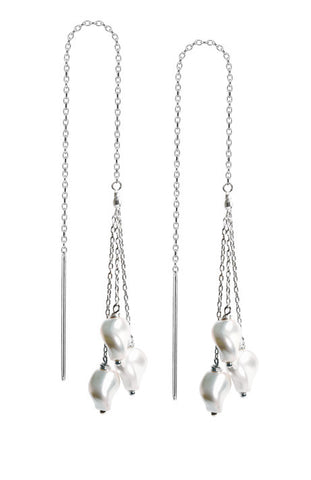 Swarovski Polygon Pearl Threader Earrings - Sterling Silver
