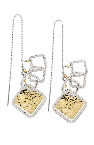 Debra Shepard Hammered Geometric Silver & Gold Earrings