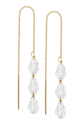 Debra Shepard Diamond Trio Swarovski Gold Earrings