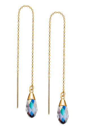 14K Gold Vermeil Threader Earrings with Crystal AB Swarovski Crystals