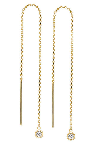 Debra Shepard Gold Diamond Drop Long Earrings