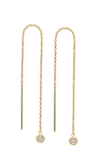 14K Gold Vermeil Swarovski Crystal Threader Earrings