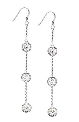 Sterling Silver Diamond Drop CZ Chandelier Earrings
