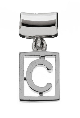 Monogram Silver Charms Letter C