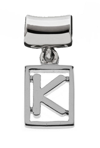 Monogram Silver Charms Letter K