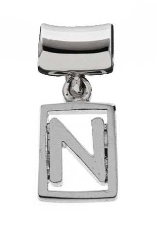 Monogram Silver Charms Letter N