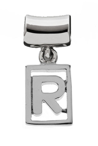 Monogram Silver Charms Letter R