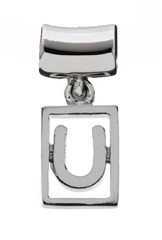 Monogram Silver Charms Letter U