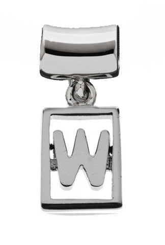 Monogram Silver Charms Letter W