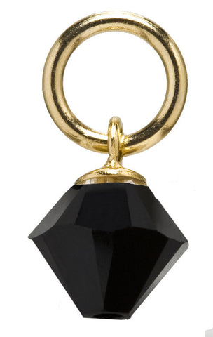 Gold Black Diamond Drop Swarovski Crystal Charm