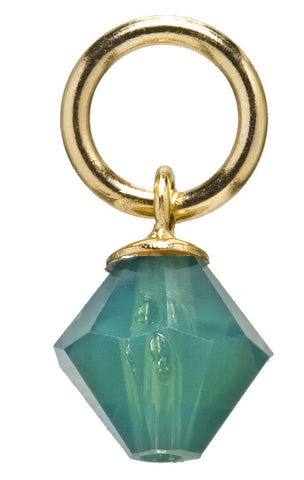 Gold Emerald Drop Swarovski Crystal Charm