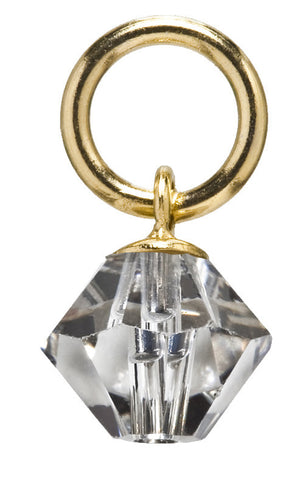 Gold Diamond Drop Swarovski Crystal AB Charm