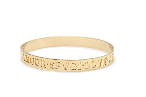 HayLuv Collection Engraved Language of Love Gold Bangle Bracelet for Women
